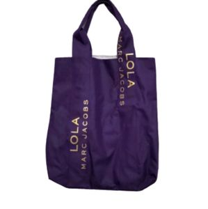 Marc Jacobs Lola Purple Gold Canvas Tote Bag